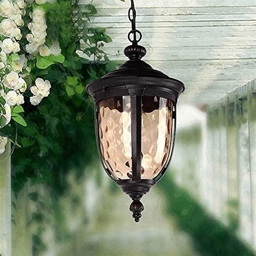 Lampada a sospensione a sospensione all'aperto impermeabile lanterna vintage vintage vetro metallo in metallo in metallo luce esterna giardino lampadario E27 Edison illuminazione a soffitto per gazebo