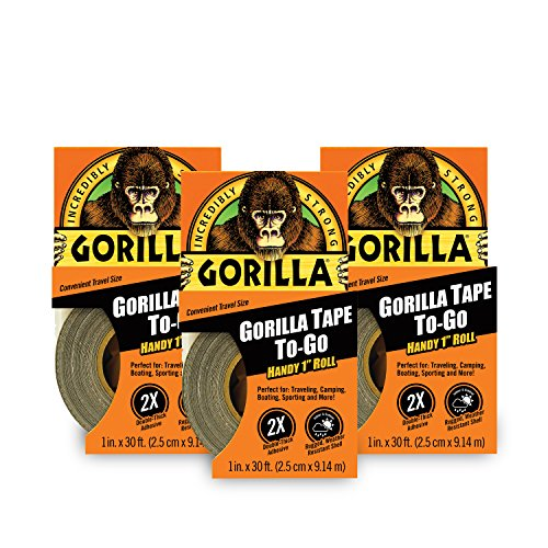 """Gorilla 6100126 6100101-3 Duct Tape to-Go, 1"""" x 10 yd, Black, (Pack of 3), 3-Pack, 3 Pack"""