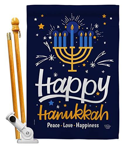 Ornament Collection Happy Hanukkah House Flag Set Winter Candle Bonsai Menorah Jewish Chanukah David Small Decorative Gift Yard Banner Made in USA 28 X 40