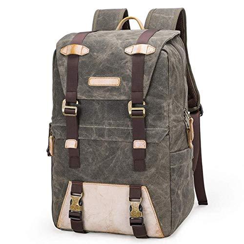Sebasty Outdoor Travel SLR Camera Backpack Vintage Canvas Shockproof Backpack 15.4 Inch Camera Lens Accessories