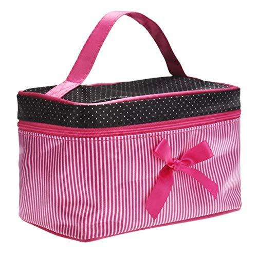 BYBAY Boîte de rangement carrée de maquillage de rayure de bowknot de sac cosmétique composent le récipient d'organisateur, rose