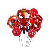 Djujiabh Ballons 7pcs Party Ballon d'araignée de Fer Captain America Foil Ballon BBirthday Décorations festives Jouets for Enfants Cadeaux (Color : Spiderman 3)