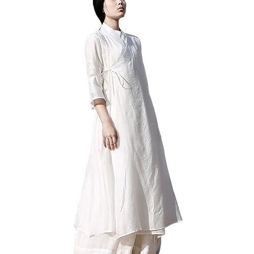 b3f4cca52 Plaid&Plain Women's Vintage Cotton Han Chinese Clothing 3/4 Sleeve Dress