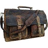 Vintage Retro Buffalo Leather Briefcase (16')