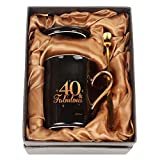 WHATCHA 40 and Fabulous Black Gold Funny Coffee Mugs 40th Birthday Gifts for Men Women Dad Mom Friends Ceramic Novelty Tea Cups 11oz