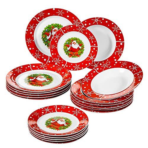 Veweet Serie SANTACLAUS Set di Piatti Natalizi in Porcellana Piatto Rosso Servizio Piatti 18 Pezzi con 6 Piatti Piani, 6 Piatti Pondi, 6 Piatti da Dolce Regalo Festive