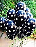 Sopeace 50 pcs 12inch 2.8g Black red White Polka Dot Balloon Colors Inflatable Latex Balloons for Wedding Birthday Party Decoration (50 Black White Spots)