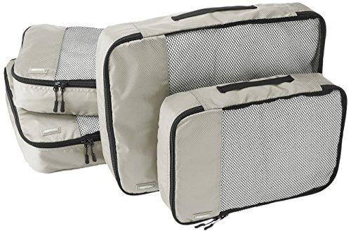 Amazon Basics - Bolsas de equipaje (2 medianas, 2 grandes; 4 unidades), Gris