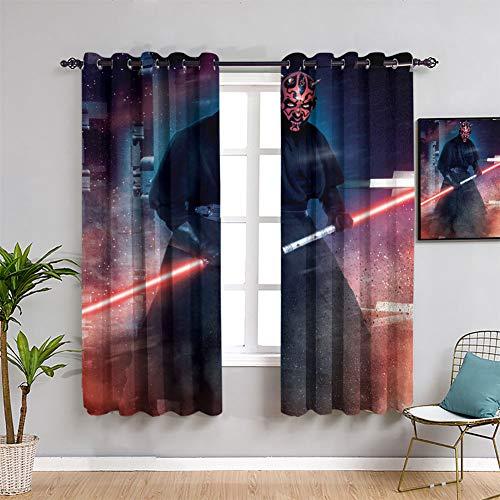 Star Wars Action Poses Darth Maul Isolierte Vorhänge B63 x L63 cm Fenstervorhang Stoff für Kinderzimmer
