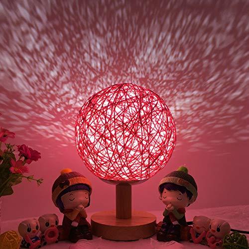 Mesita de Noche proyector de Estrella romántica luz de Noche Creativa Regalo de cumpleaños INS atenuación Guita Bola Bola de ratán lámpara de Mesa 15 cm