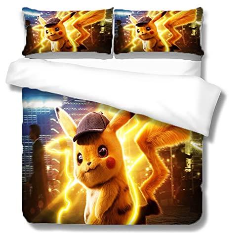 Itscominghome - Juego de cama de matrimonio con funda nórdica de Pikachu estampada en 3D,2 fundas de almohada, 100% microfibra (Pikachu 5,220 x 260 cm)