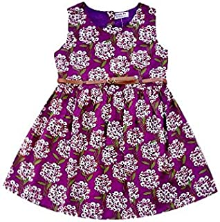 Posies Printed Purple Cotton Frock with Belt