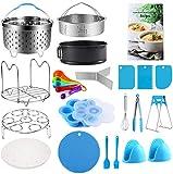 Accesorios para olla instantánea 5,6,8 qt, juego de accesorios para olla de presión que incluye 2 cestas de vapor, sartén de resorte, estante para vaporizador, molde para picaduras de huevo,...