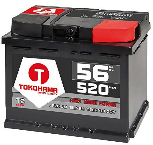 T TOKOHAMA JAPAN QUALITY Autobatterie 56Ah 520A +30% mehr Leistung Starterbatterie ersetzt 50Ah 54Ah 55Ah 60Ah