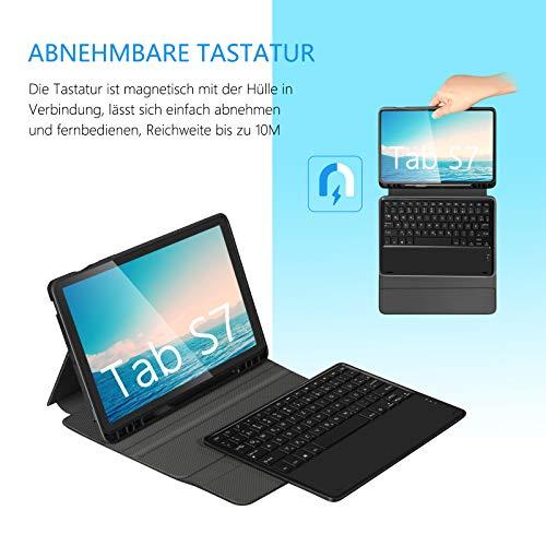Jelly Comb Beleuchtete Tastatur Hülle für Samsung Tab S7, Abnehmbare Bluetooth QWERTZ Tastatur mit Schützhülle für Samsung Tab S7 11 Zoll 2020 (SM- T870/T875),Schwarz