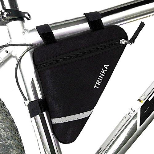 Wommty Bike Triangolo Ciclismo Bicicletta Tubo Anteriore Telaio Borsa Sella Con Striscia Riflettente, Nero