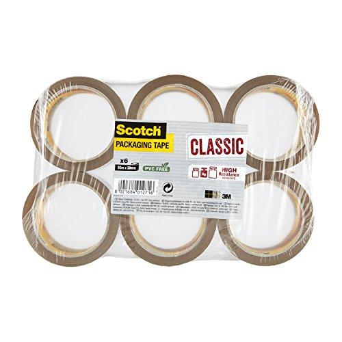 3M Scotch KT-0000-406-1 - Cinta de Embalaje, 66 m x 50 mm, Paquete con 6 Rollos