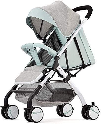 Cochecito de bebé liviano portátil, cochecito de bebé, cochecito de viaje ligero con dosel grande para bebés, niño, bebés y niñas, 6 meses de edad y gris verde