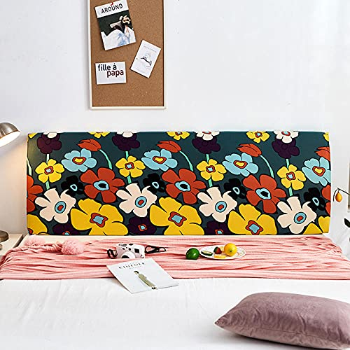 Huvudgavel skydd marinblå stretch säng sänggavel överdrag tvättbar avtagbar bekväm skydd dammtät sänggavel dekor för sovrum enkel dubbelsäng sängar 220 cm (sänggavel längd 210 – 240 cm)