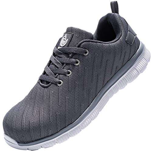 Dykhmily - Scarpe antinfortunistiche unisex, con cappuccio in acciaio, scarpe da lavoro traspiranti, riflettenti, anti-perforazione, anti-smashing, Grigio (grigio.), 45 EU