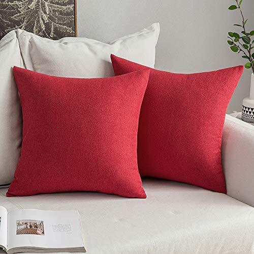 MIULEE 2er Pack Home Weihnachten Dekorative Leinen-Optik Kissenbezug Kissenhülle Kissenbezüge Weihnachtskissenbezüge für Sofa Schlafzimmer Auto mit Reißverschlüsse 45x45 cm Rot