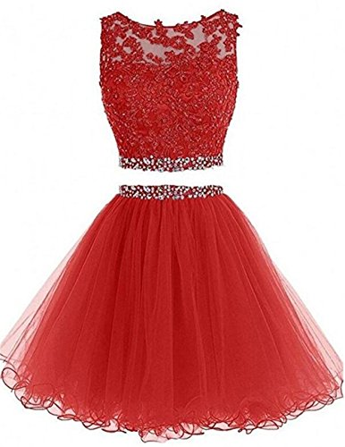 Dydsz Women's Prom Dress Short Homecoming Dresses for Juniors Teens 2 Piece A Line Tulle D127 Red 10