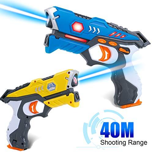 Multiplayer - il set include 2 pistole con colori giallo e blu. Due pistole possono utilizzare la modalità di battaglia, che aggiunge più divertimento al gioco. Dopo aver acceso le pistole, è possibile scegliere una squadra e assegnargli un colore; o...