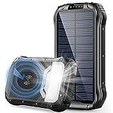 WFEI 26800Mah Banco De Energía Solar Cargador Inalámbrico Qi Rápido Powerbank Batería Externa Linterna Portátil Poverbank para Exteriores,Negro