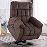 PUG258Y Power Lift Chair Electric Recliner for Elderly Heated Vibration Massage Fabric Sofa Motorized Living Room Chair with Side Pocket and Massage Remote Control, Luxurious, Light Taupe