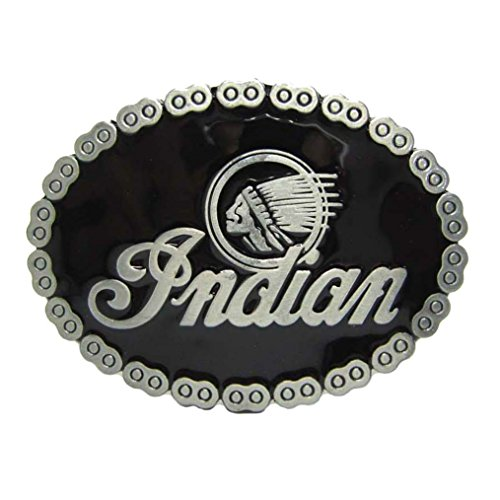 MASOP Vintage Native American Indian Head Oval Biker Black Belt Buckle Men