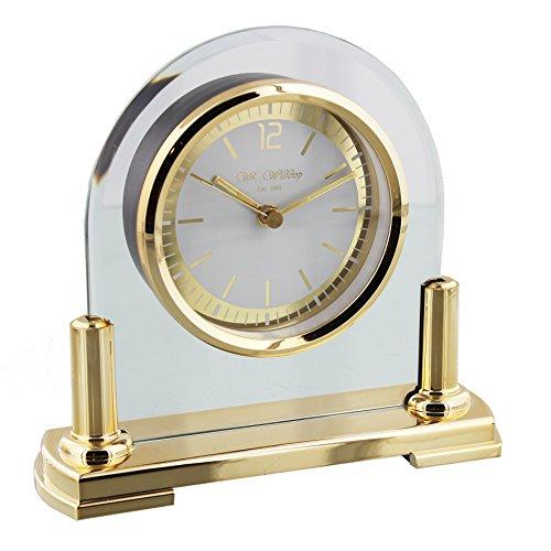 W M Widdop Modernes Glas & Messing zwei Ton Quarz gewölbte Design Kaminuhr