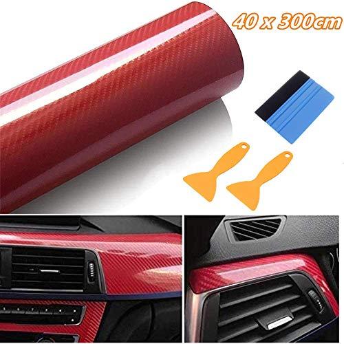 Vinilo Fibra de Carbono 6D 40 x 300CM Película Pegatina Decoración Autoadhesiva a Prueba de Agua Libre de Burbuja Uso Interior para Coche Motocicleta Teléfono Móvil (Rojo)