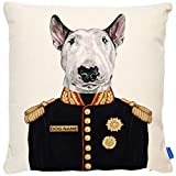 KRAFTYGIFTS Personalised ENGLISH BULL TERRIER Dog Cushion Cover Military Portrait Artwork FDC20