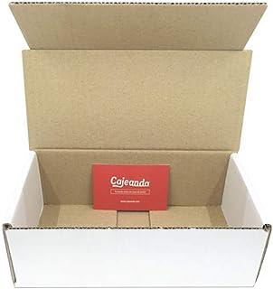 Pack de 50 Cajas de Cartón Automontables en Canal Simple y Color Blanco. Para Mudanzas y Envíos. Alta Calidad y Resistentes. Tamaño 21 x 10 x 7 cm. VARIOS PACKS. Fabricadas en España. Cajeando (50)