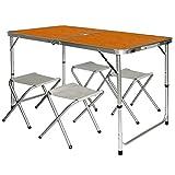 AMANKA Tavolino da pic-nic incl 4 Sgabelli Tavolo da campeggio 120x60x70cm altezza regolabile...
