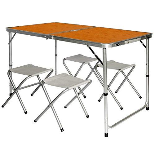 AMANKA Alu Campingtisch 120x60cm - Klapptisch Set mit 4 Stühlen - 3-Fach höhenverstellbarer Falttisch Bambus-Optik