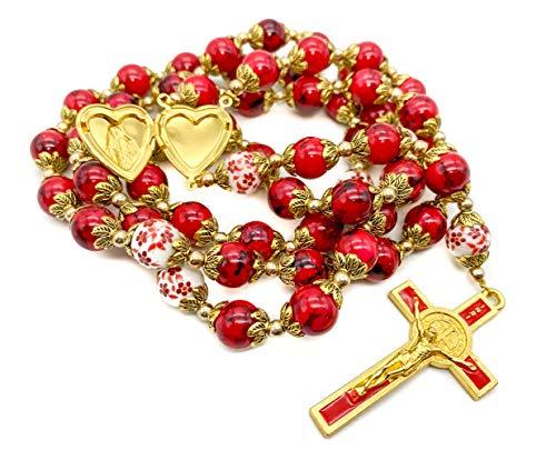 Nazareth Store - Rosario de San Benito de perlas rojas, collar católico con diseño de flores, con cuentas de los misterios, milagrosa medalla relicario y cruz, rosario para rezar