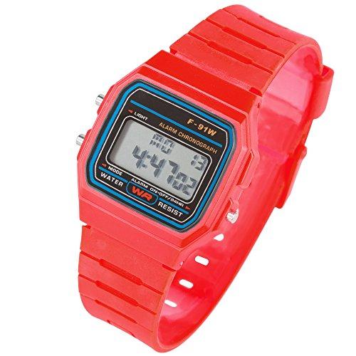 Taffstyle Damen Herren Sportuhr Silikon Armbanduhr 80er Jahre mit Alarm Datum Kalender Viereckig Vintage Retro Digital Uhr Rot
