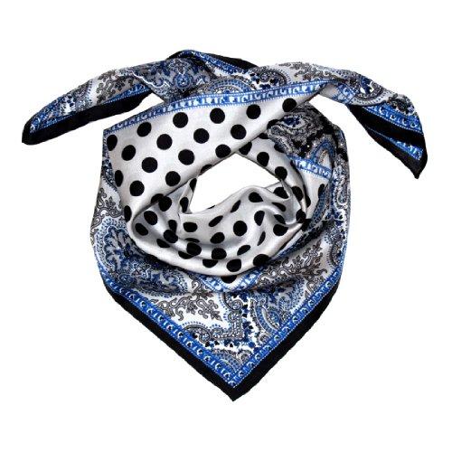 Lorenzo Cana Luxus Damen Seidentuch aufwändig bedruckt Tuch 100% Seide 70 x 70 cm Damentuch Schaltuch weiss blau schwarz 89055