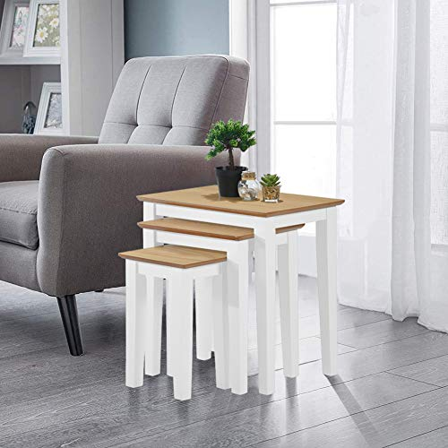 GOLDFAN Nest of Tables Set of 3 Nesting Coffee Tables Solid Wood Side End Lamp Tables Bedside Tables for Living Room (White)