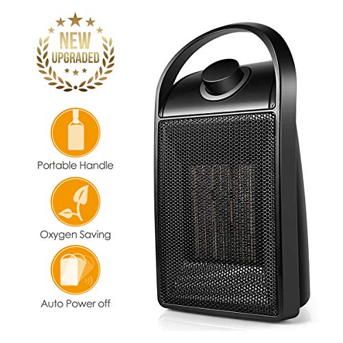 Space Heater, Personal Mini Electric Ceramic Heater, Adjustable Portable Thermostat and Multifunctional 750W/1500W Desk Heater Fan with Carrying Handle for Home Office Heater Oscillating Space