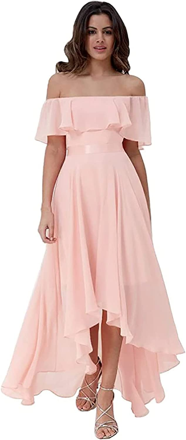 WHLWHL Bridesmaid Dresses Long Off The Shoulder Chiffon High Low Dress Women Formal Evening Gowns