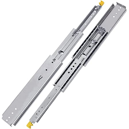 """VADANIA Industrial Ultra Heavy Duty Drawer Slides with Lock 56"""", VD2576, 3-Fold Full Extension, Ball Bearing, 3"""" Widening, Side Mount 1-Pair"""