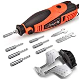 GOXAWEE Chainsaw Sharpener Kit 180W Power Chain Saw Sharpen Tool Set, Electric Blade Sharpening File Comes with 6pcs Diamond Sharpening Wheels, Angle Attachment (5 Speed Setting, 8000~35000 RPM)