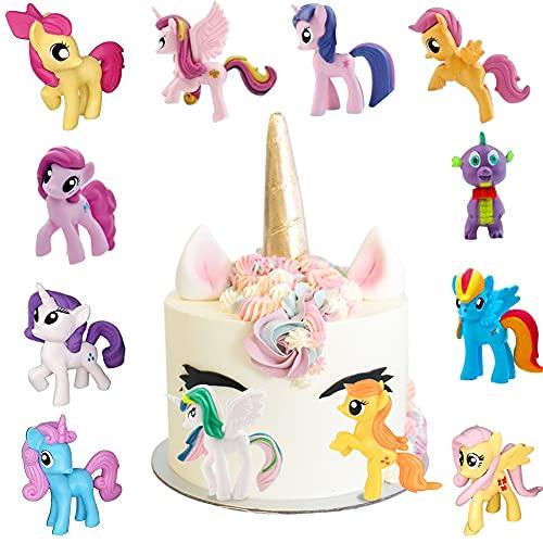 Mini Figuras de Unicornio, Cake Topper Unicornio Decoración, Decoración de Pastel de Cumpleaños de Dibujos Animados, para Decoración de La Torta del Banquete de Boda, 12 Piezas