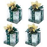 Scatole Regalo Trasparenti, 10 Pezzi Scatola per Caramelle Trasparenti Scatole per bomboniere Scatole per Dolci con Decorazione a Campana per Natale, Matrimonio, Compleanno, Ringraziamento Green
