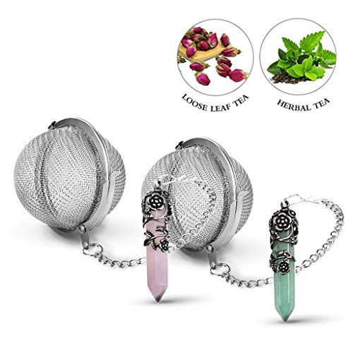 Taygate 2 pack Healing Crystal Pendant Loose Tea Leaf Strainer for couple,Antique Silver Flower Wrapped Natural Gemstone Hexagonal 18/8 Stainless Steel Mesh Tea Ball Ideal Valentine's Day Gift