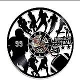 FUTIIF Horloge Murale en Vinyle Équipe De Football Américain Disque Vinyle Veilleuse Horloge Joueur De Rugby Mur Art Décoration Jeu Joueur De Sport Garçon Non LED