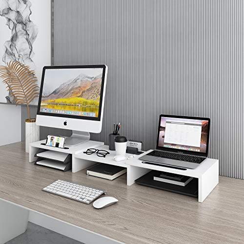 Soporte para monitor dual con 3 estantes y longitud ajustable y ángulo de la pantalla de ordenador organizador de escritorio con ranura multifuncional para teléfono y tableta, color blanco