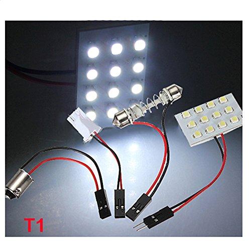 12/24/36/48 LED 3528 SMD T10 Festoon BA9S Adaptateur (12 SMD Blanc pur)